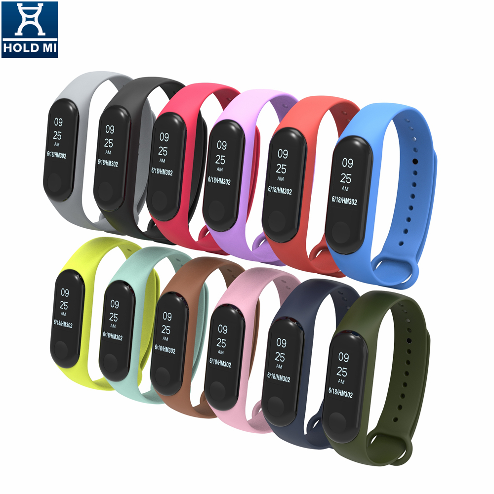 Holdmi 3022 dual color series ink black color silicone strap watch band for Mi band 3 and mi band 4