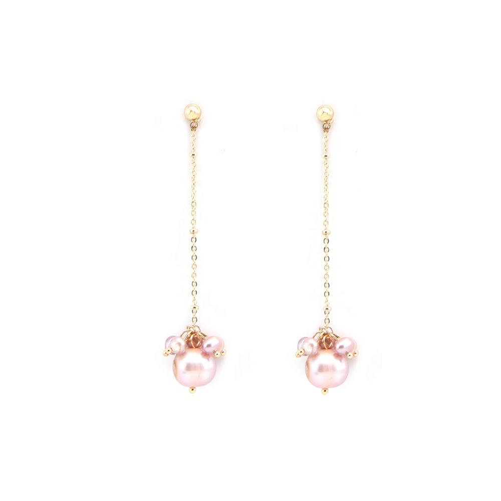 Hot selling natural pink freshwater pearl drop earrings for women