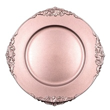Plastic Rose Gold Charger <strong>Plates</strong> with Antique Design for Rentals