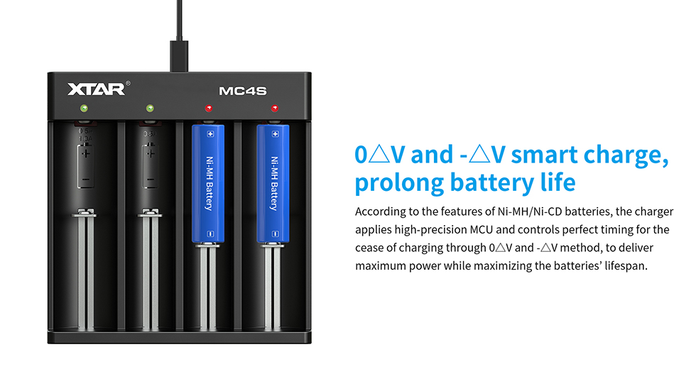 XTAR MC4S USB Charger Li-Ion Ni-MH Smok Vape Battery Charger Smart Charger
