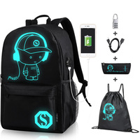 2020 Hot Sale Best Quality New Design Custom Logo Oem/Odm Kids Anti-theft Backpack Luminous Backpack School Bag with USB Charger