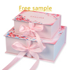 Free sample!!Custom design printed with logo ribbon flip cover box cardboard folding packaging gift box