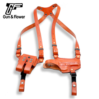 Gun&Flower Sig P226 Leather Shoulder Gun Holster with Double Magazine Carrier Right Hand Brown Concealed Carry Glock Springfield
