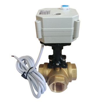 "3 way 3/4"" DN20 brass electric motorized valve with higher bracket"