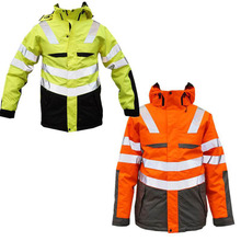 Custom Mens Hooded Winter Hi Vis Reflective Outerwear <strong>Safety</strong> Wear Clothes Clothing Workwear Jacket Uniform