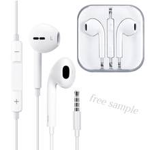 Free <strong>sample</strong> 3.5mm jack TPE earphones headphone 1.2 M handsfree stereo in-ear wired earphone for iPhone