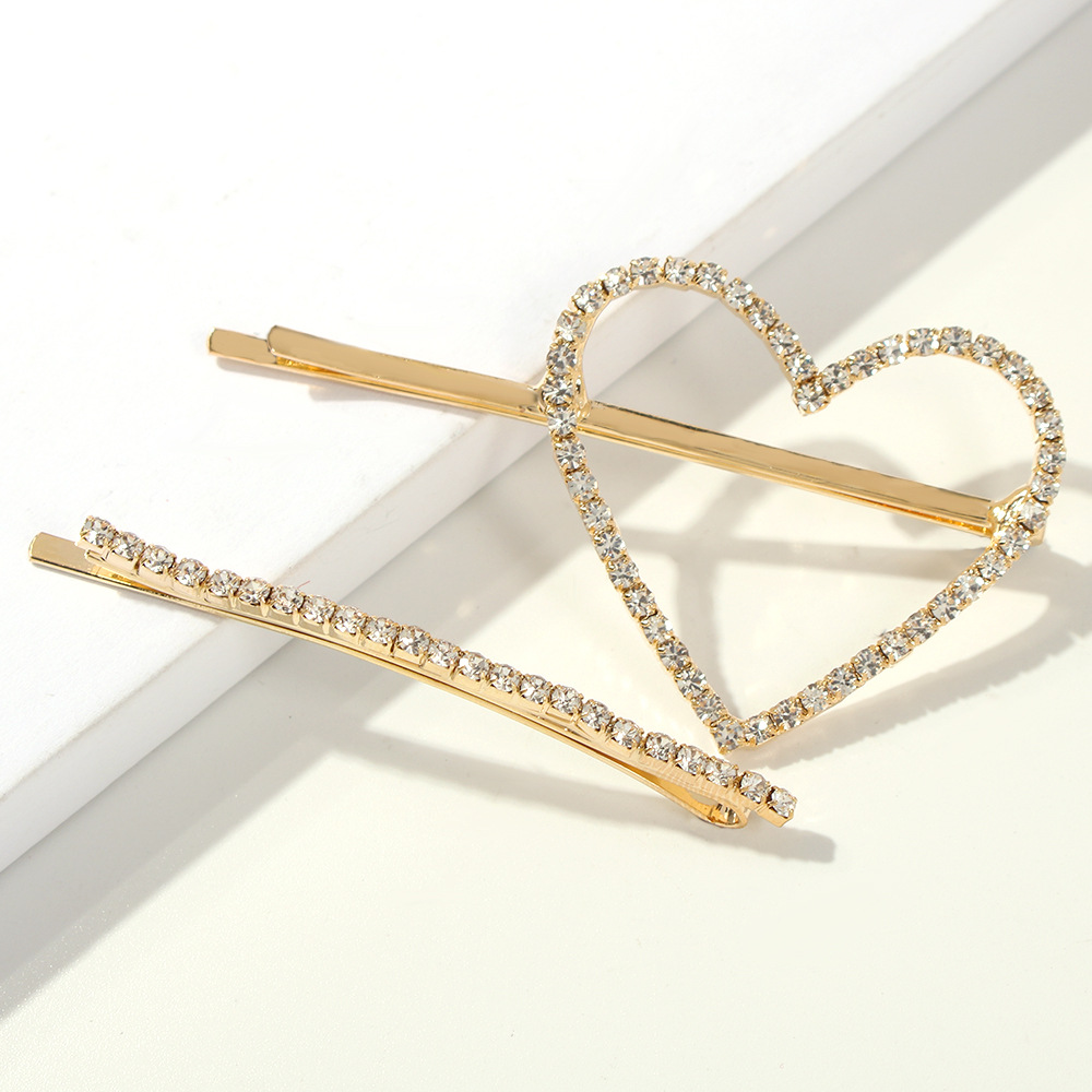 star crystal hairclip set gold circle heart geometric shape hair pin set hair clip women rhinestone
