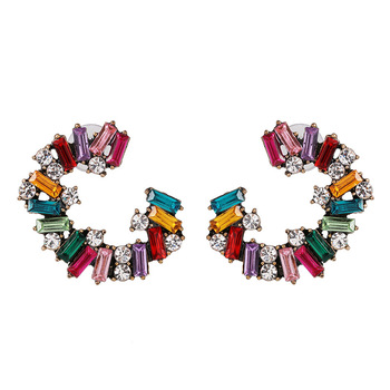 Personality exaggerate earring jewelry Set diamond C shape colorful sparking alloy  earring for women