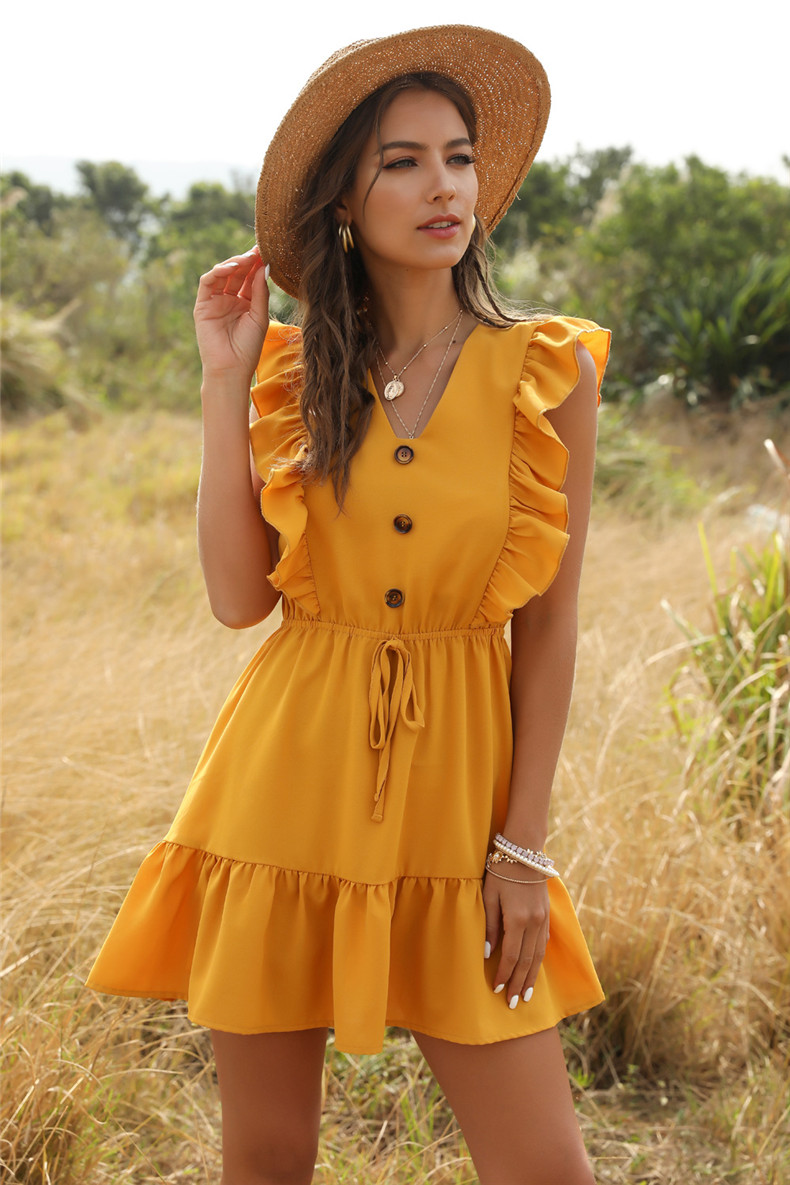 2020 Off Shoulder Tunic High Waist Party V Neck Casual Boho Beach Yellow Women Summer Dress