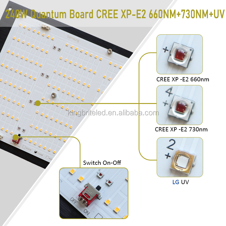 Pre-assemble kingbrite 240w lm301h with cree xpe2 660nm LG UV IR switch qb led board grow light