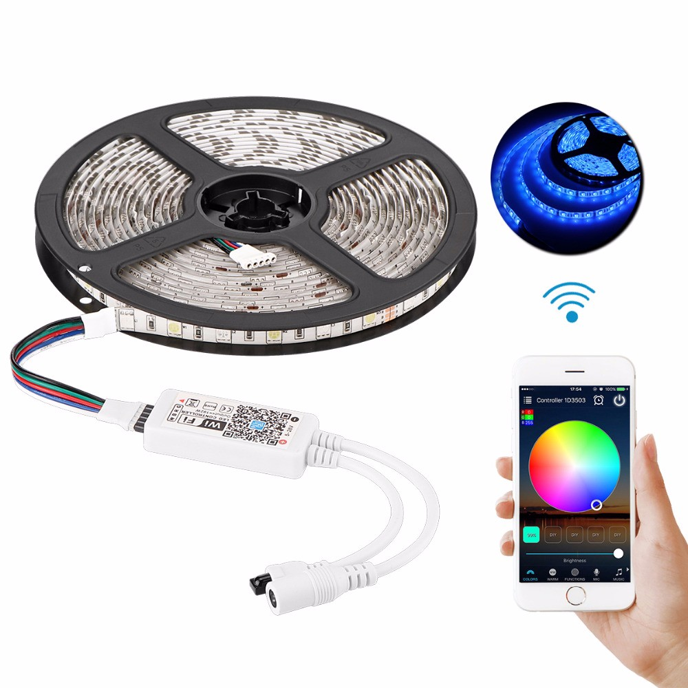 Intelligent LED Light Strip 5 Meters <strong>RGB</strong> IP65 5050 Smart WiFi Strip Lights with Alexa Wifi Remote Controller
