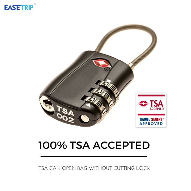 TSA Approve Bicycle Chain Combination Lock Travel 3 Dial Lock Cable Padlock TSA Luggage Suitcase Lock