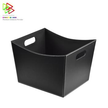 Kitchen Supplies Easy to Move Simple and Clean Custom Color Basket Black Leather Storage Box
