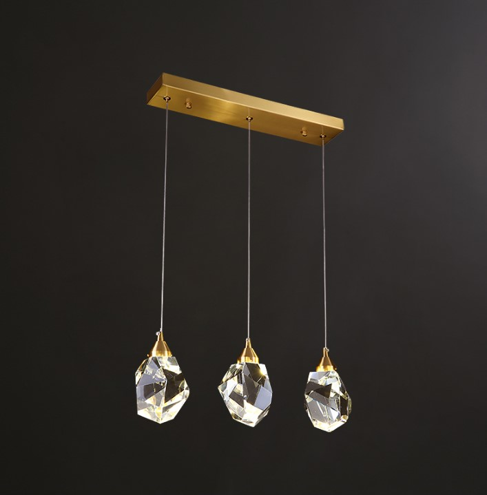 3 lights clear rectangle pendant light gold crystal <strong>led</strong> pendant lighting metal industrial pendant lamp chandelier Restaurant
