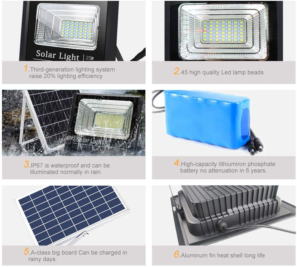 25W Solar Flood Lights Outdoor 45LEDs IP65 Outdoor Waterproof 1000lumen Light Sensing Remote Control Safety floodlight