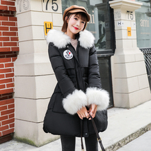 Fox fur winter jacket women's thick coat solid color hooded coat
