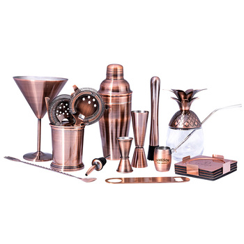 American Style Professional Boston copper plated bar tool gift cocktail shaker set stainless steel cocktail shaker bar set