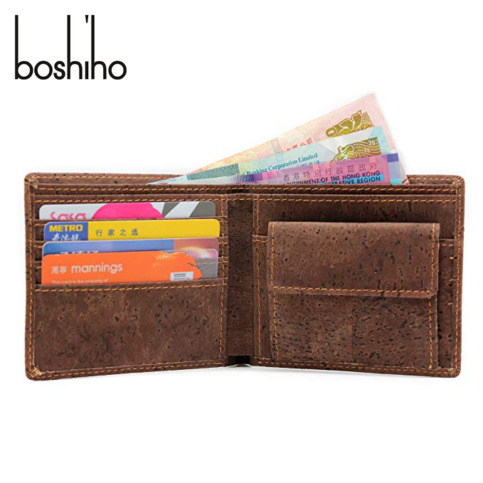 Boshiho Eco Friendly Gift RFID Blocking Slim Bifold Vegan Coin Purse Cork <strong>Wallet</strong> for Men and Women