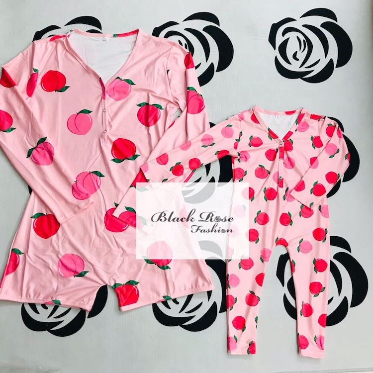 Black Rose Fashion <strong>Y</strong> pink peach mommies and me onesie for toddlers up to big girls onesie