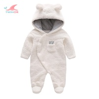 Wholesale custom winter warm thick fleece hooded snow suit baby snowsuit