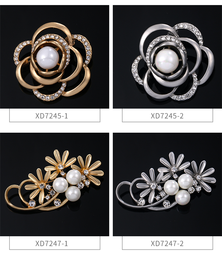 Weiman Jewelry Factory Direct Sale Alloy Brooches with Rhinestones and Shell Pearls