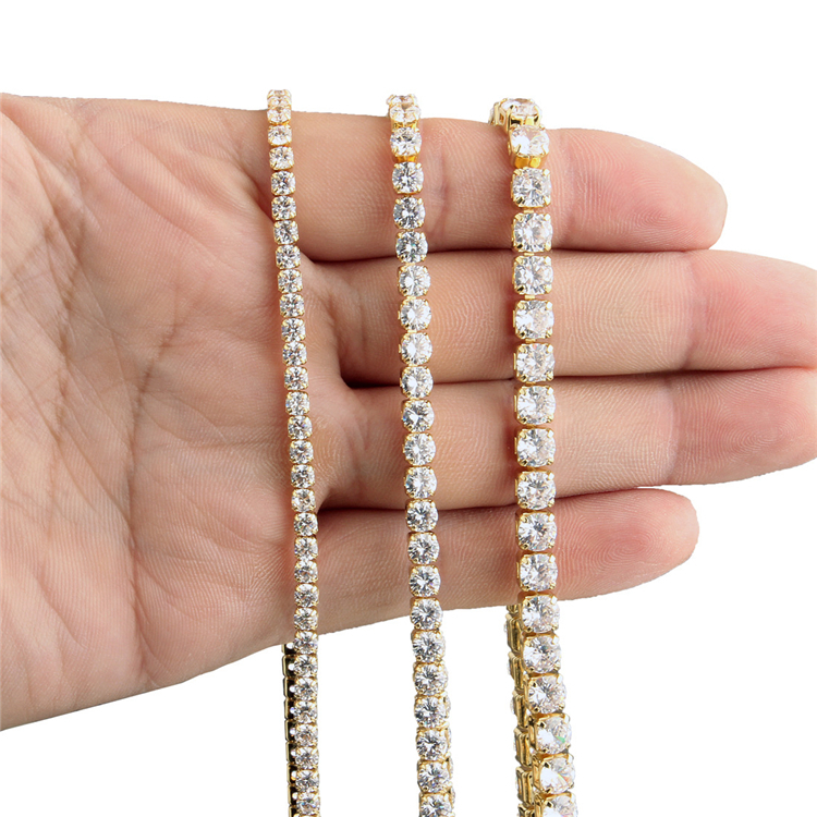 Wholesale Hips Hops Bling Jewelry 3mm 4mm 5mm Diamond Tennis Chain Iced Out Bling Cubic Zircon CZ Tennis Chain Necklace