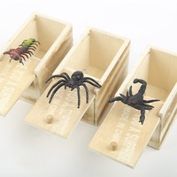 2019 New Arrival Amazon Hot Sale Wooden Scare box Joke Spider Prank Bug Scary Toy Scare Box
