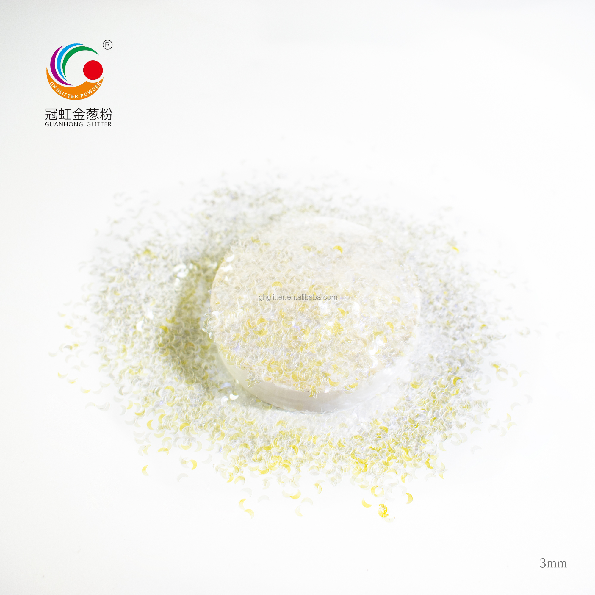 GH7700 Bulk High Quality Iridescent Glitter Powder 1kg Chunky Moon Shape Cosmetic Glitter Pigment China Wholesale