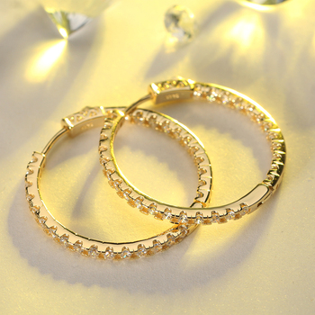 RINNTIN OE137 Fashion Zirconia Earrings Trend 2020 Ladies Jeweries Wholesale 14K Gold Plated Large Hoop Earring Women