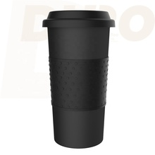 DHPO Double Wall Insulated Ceramic Travel Mug with Non-Slip Sleeve, 16-Ounce, <strong>Black</strong>