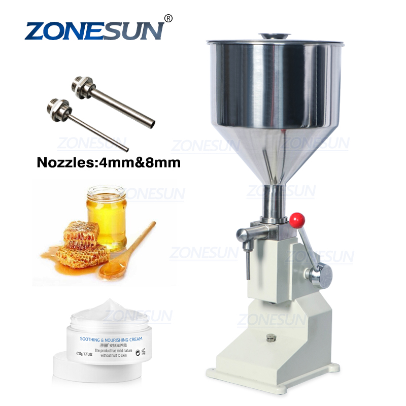 ZONESUN <strong>A03</strong> Hand Operated Filling Machine Manual Cosmetic Paste Sausage Cream Liquid Filling Supply