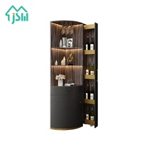 Luxury Living Room Home Furniture LED Light Corner Bar Wine Display Cabinet
