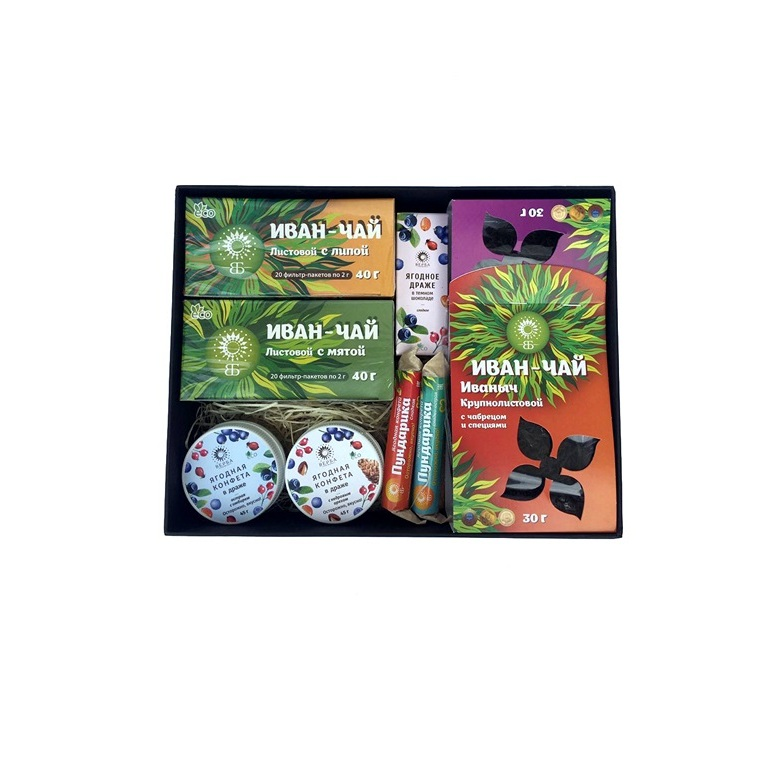 A025 - Russian traditional herbal tea collection gift tea and candy package set
