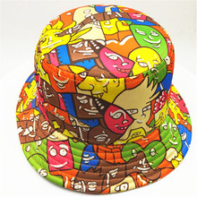 Cartoon Pattern Bucket Hats Round Brim <strong>Flat</strong> Top Fishing Hats for Kids/Adult