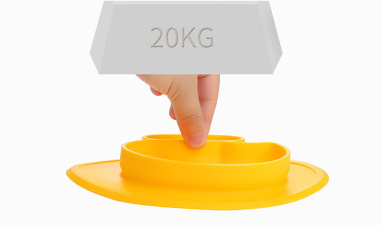 Portable Kids Silicone Deep Dish Plate- Toddler Dinner Divided Grip Plates
