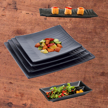 Black Pottery color 8.3 9.3 10.3 inch sushi dinner set plate 100% melamine tableware dinnerware set square plates plastic plate