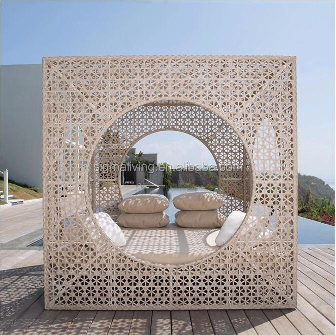 Handmade patio outdoor garden sets wicker chaise lounge daybed furniture