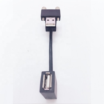 LBT 2019 New Product 10cm Black Angled USB 2.0 Female to Angled USB 2.0 Male Cable with Screw for mobile phone