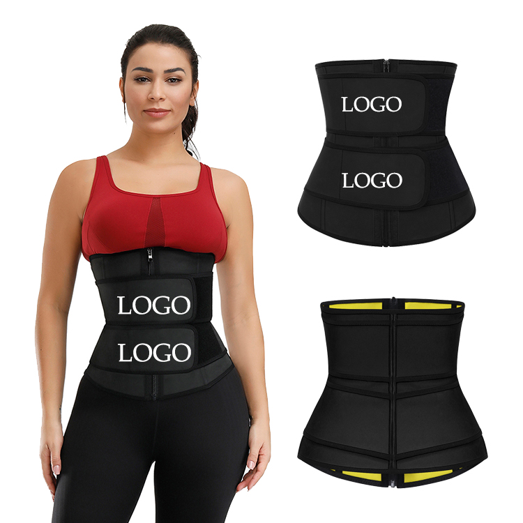 Custom Logo Hot Selling Best Selling Quality Double Belt Waist Trainer Women Neoprene And Latex Waist Trainer Private <strong>Label</strong>