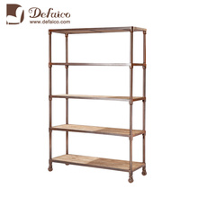 Bespoke Modern Steel Pipe Cast Iron Farmhouse Industrial Reclaimed Wood And Metal <strong>Shelves</strong> with 5 Tiers