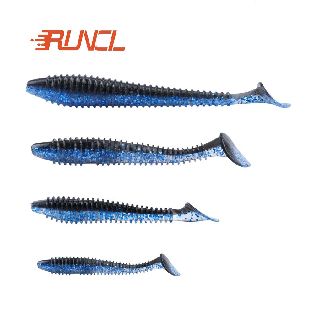 RUNCL 20pcs/lot Artificial Bait Soft Lures Glub Single Tail Ribbed Design Lures Bass <strong>Fishing</strong>