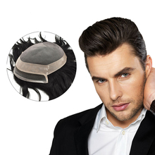 Fine Mono And PU Mens Human Hair Toupee With Natural Lace Remy Human Hair Wig For Males