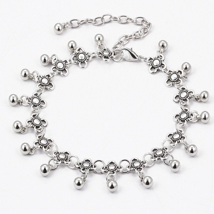 RTS Alloy Polish Anklet Chain Wholesale Women Anklets With Waterdrop Bell Trims Silver Anklets <strong>A001</strong>