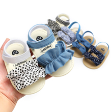 Low MOQ Cotton fabric Bowknot Slipper Newborn summer baby sandals for girl