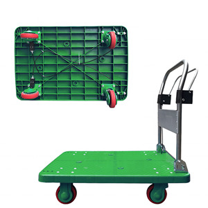 Handbrake Flat Steel Platform Folding Hand Truck 200kg 400kg 600kg Plat Form Hand Truck With Brake