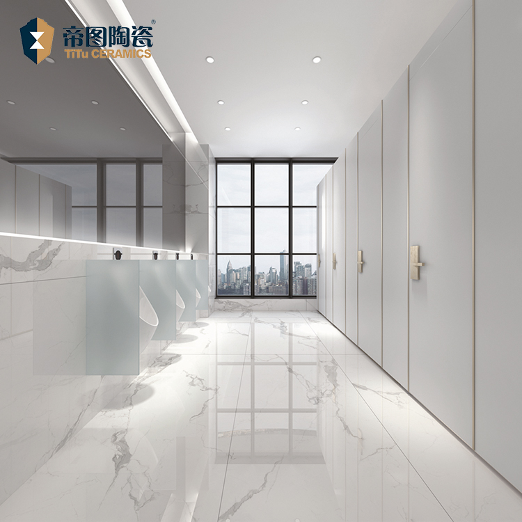 Lavatory Polished Flooring Tile <strong>Ceramic</strong> 900 X 1800 Non Slip Porcelain White Color <strong>Ceramic</strong> Tile