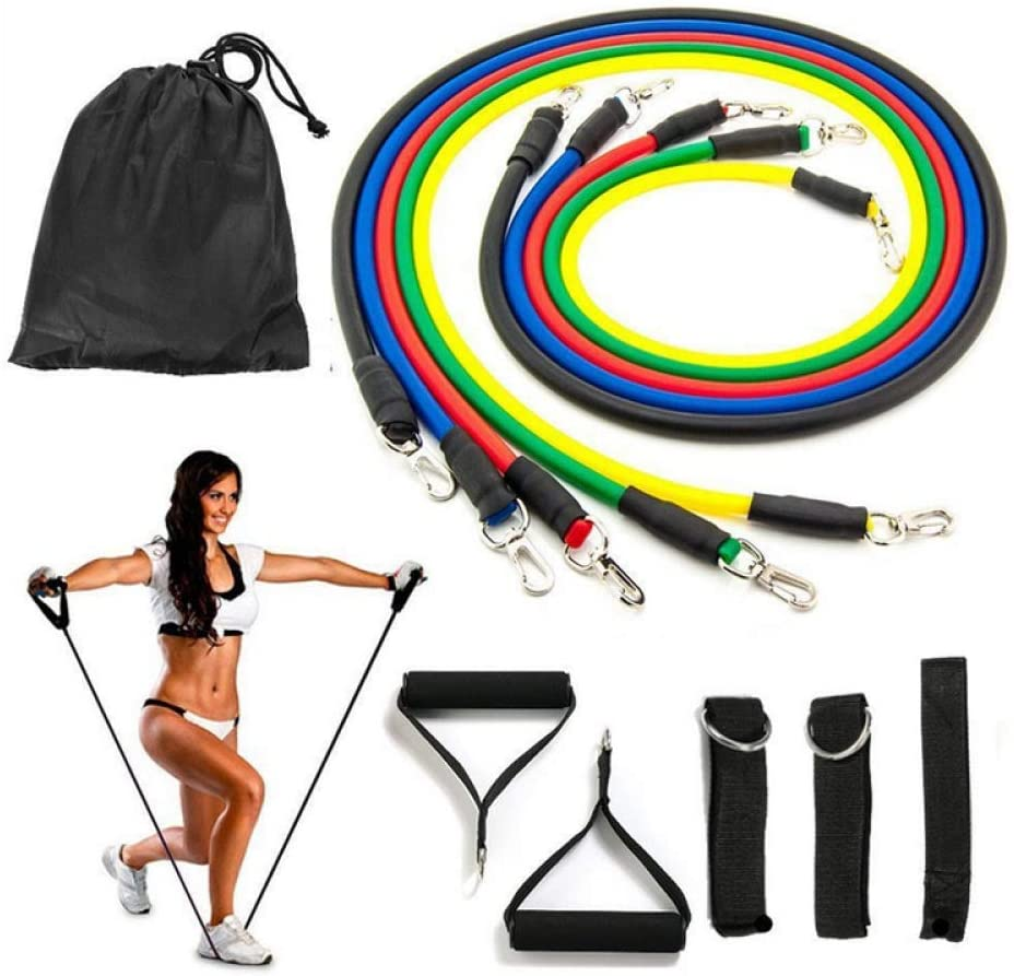 11 Pieces Exercise Fitness Resistance Bands Set Latex Bodybuilding Elastic Pull Rope Strength Training for Pilates, Rehab, Yoga