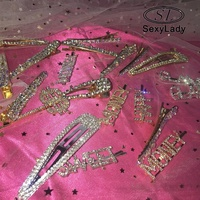 hot girl bling hair pins newest fancy women hair accessories wholesale custom hair clip