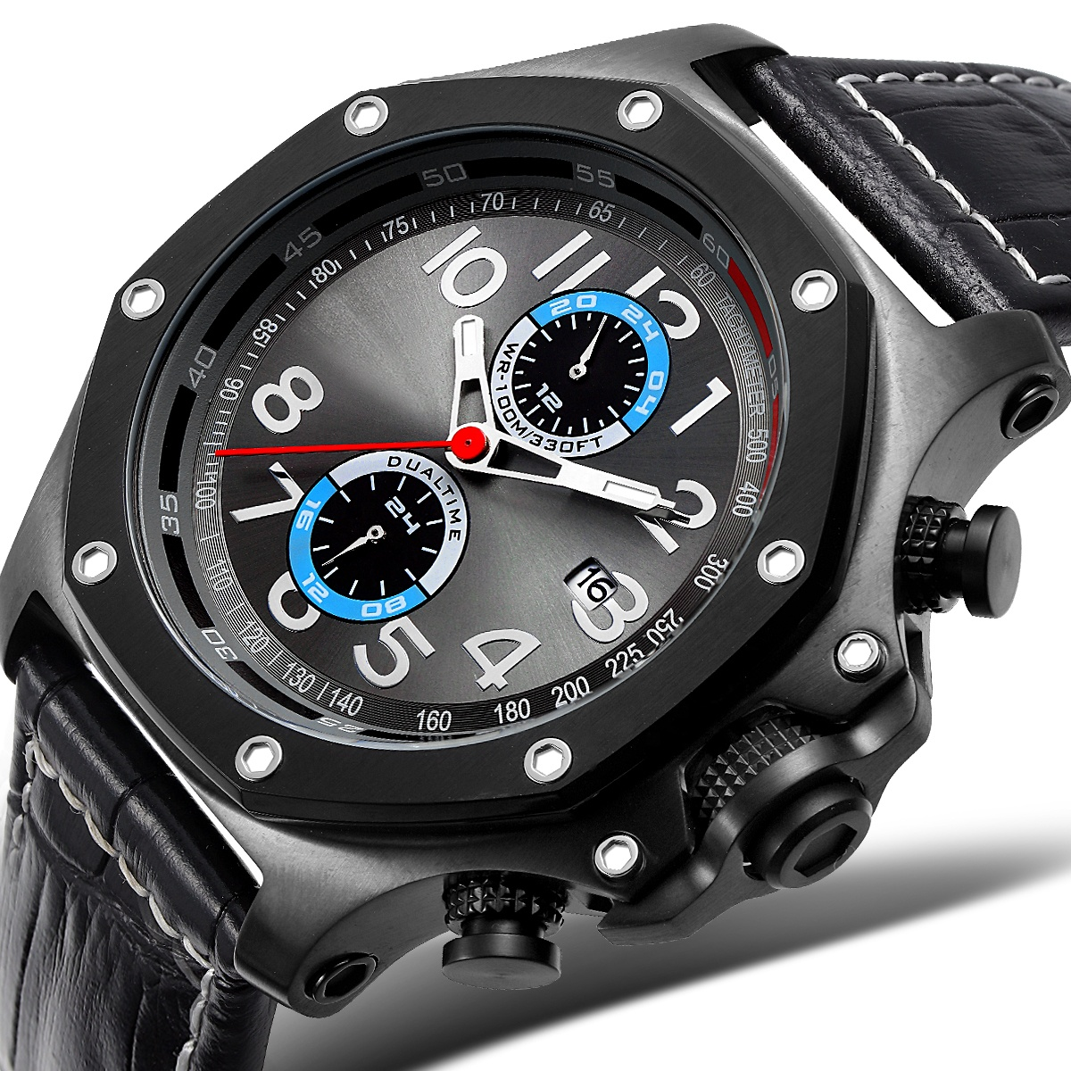 Japan movt quartz stainless steel back waterproof <strong>men</strong> leather oem watch