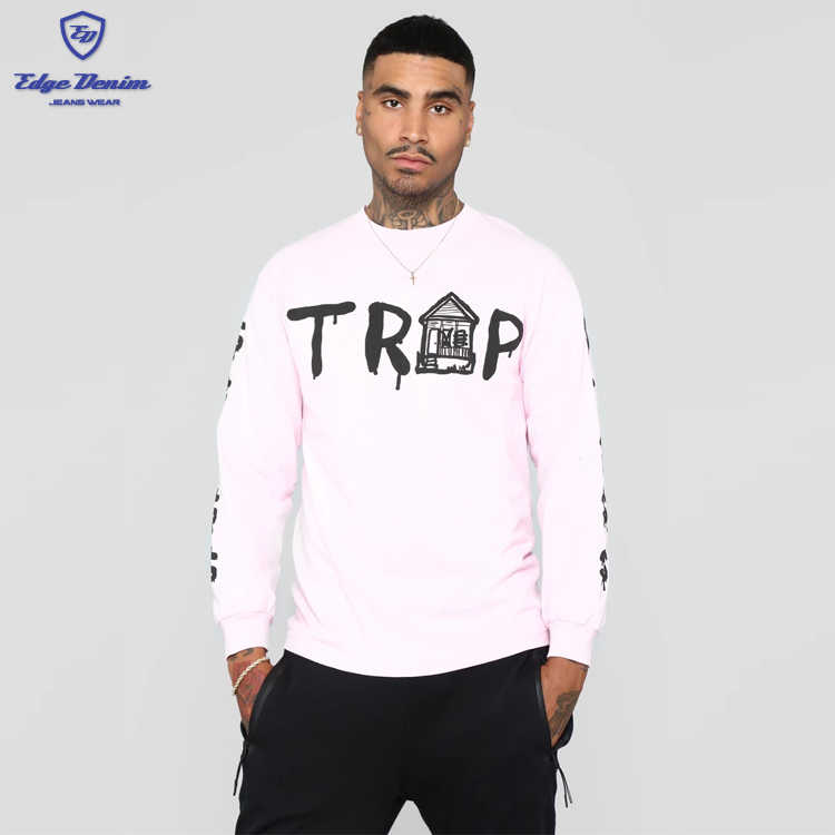 New Design Wholesale screen print on front sleeves crew neck pink trap house tee cotton hoodie men